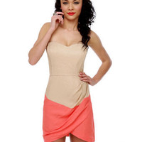 Elegant Strapless Dress - Color Block Dress - Beige Dress - Coral Dress - $60.00