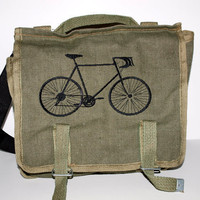 Canvas Military Rucksack Bicycle Custom Embroidered by owlsay