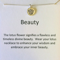 Sterling Silver Lotus Blossom Necklace, Good Luck Charm, Yoga, Best Friend, Valentine's Day