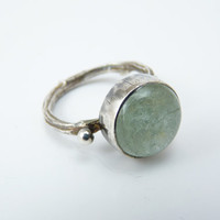 aquamarine ring with a cast twig band - twig ring - rustic ring - branch ring - gemstone jewelry - cocktail ring - grayed jade