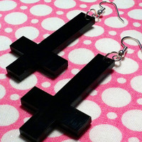 Black Inverted Cross Dangle Earrings