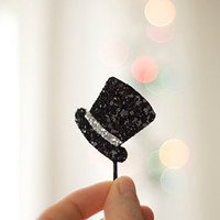 Black-Glitter-Mini-Top-Hat-Bobby-Pin-Clip-Valentines-Gift-Shimmering-Other-Colours-Available