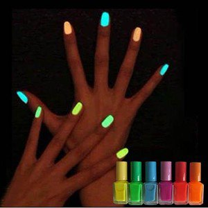 New 6 Colour 7ml Fluorescent Neon Nail Art Polish Glow In Dark Lacquer Varnish