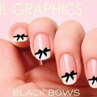 30 BLACK BOWS Nail Art Nail Decals water slide nail designs