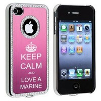Amazon.com: Apple iPhone 4 4S 4G Pink S1661 Rhinestone Crystal Bling Aluminum Plated Hard Case Cover Keep Calm and Love A Marine: Cell Phones & Accessories