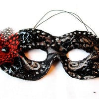 Black Lace Masquerade Mask with Red Rose by FeatherFunded on Etsy