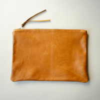 Brown Leather Clutch - Oversized Pouch - Touch
