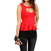 Red Cutout Peplum Top