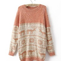 High Quality Vintage Crew Neck Knitted Comfy Reindeer Snowflakes Pattern Sweater