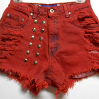 Vintage Levis High Waist Denim Shorts --Dyed RED  with Studs Waist 28  inch