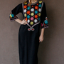 Vintage 1960&#x27;s Black Caftan INDIAN  Tunic Dress RAINBOW ARABIA Anita Pallenberg Style