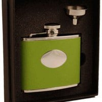 "Visol ""Lily Pad"" Light Green Leather 4oz Flask"
