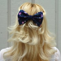Feminine dark floral bow hair clip - big bow - barrette - kawaii - retro