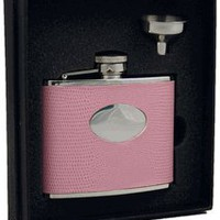 "Visol ""Aruba"" Light Pink Synthetic Leather 4oz Flask Gift Set"