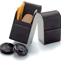 Visol Men's Leather Shoe Shine Travel Kit
