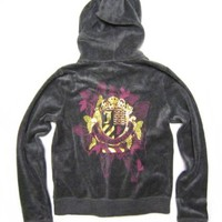 "Amazon.com: Juicy Couture Velour Hoodie / Track Jacket ""Juicy Couture"" with Pink and Golden Foil Butterfly Crest Design in Heather Pestige (Grey) (Medium / M): Clothing"