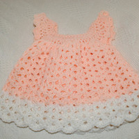 Crochet Baby Dress Pinafore Lacy Newborn Dress Infant Baby Girl Clothes Peach Formal Fashion Baby Dresses Girly Girl Dress, Easter Dress