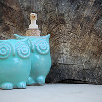 Ceramic owl soap dispenser and tooth brush caddy in mint eco friendly