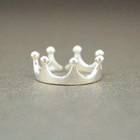 Simple Crown Ring in sterling silver / Adjustable