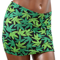 Marijuana Pot Leaf Print Smooth Fit Bodycon Spandex Skirt Clubwear UV GLOW NWT