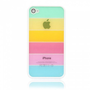 Rainbow Style Hard PC Back Case for iPhone 4/4S White Frame