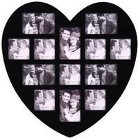 "Amazon.com: 13 Opening Photo Picture Frame - XSJ304 ADECO - Wall Art,Wall Hanging Collage,Heart Shape,Holds Six 4""x6"" and Seven 4""x5"" Inch Photos Great Gift,Wooden,Black,Valentine Gift: Home & Kitchen"