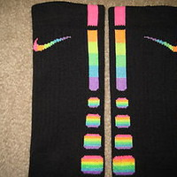 Custom Rainbow with Horizontal stripes Nike Elite Socks Sz Large (8-12)