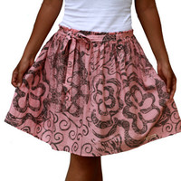 Spring Fashion Skirt / Dusty Pink and Grey Midi Skirt with Sash Belt / Ready to Ship