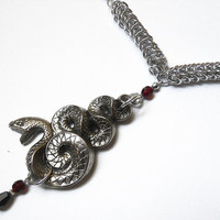 Snake necklace Chainmaille Gothic silver red and by DoBatsEatCats