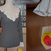 Vintage 1970s Bodysuit Black and White Check with Ruffle Collar and Cuffs