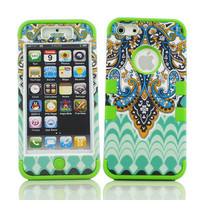 3-Piece Tribal Tribe Hybrid High Impact Hard Case Cover for iPhone 5 5G Green