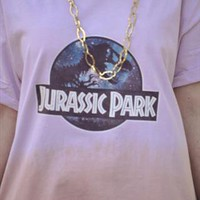 Retro Jurassic Park over sized Pink Lilac T-shirt Tee top from Gone Retro