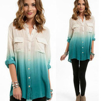 NWT OMBRE BLUE BEIGE BUTTON UP POCKETS BLOUSE 3/4 Sleeve Top Blouse LONG TUNIC