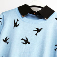 SWALLOW SWEATER with COLLAR