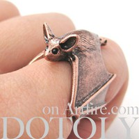 Adjustable 3D Bat Wings Wrap Around Animal Ring in MATTE Copper
