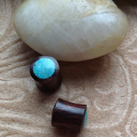 "00 Gauge (9mm) ""Blue Sky"" Plugs, Naturally Organic, Sono Wood, Blue Stone"