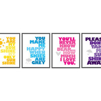You are my sunshine - Set of Four 8x10 prints - Yellow - Blue - Pink - Purple