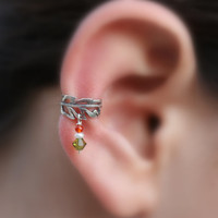 Ear Cuff Sterling Silver Handcrafted Leaf by Holylandstreasures