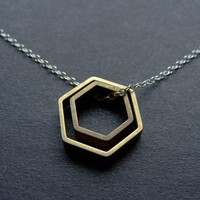 Paired Hexagons by LaurenHauptJewelry on Etsy
