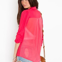 Ruched Chiffon Blazer  in  What's New at Nasty Gal