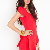Victoria Peplum Dress - Poppy in  What's New at Nasty Gal