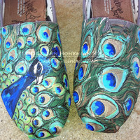 Peacocks hand painted TOMS Feathers Birds Fowl TOMS included