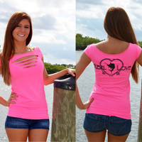 Sexy Stylish Reel Love pink fishing shirt