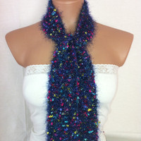 StOcK CleAranCe SaLe-29% OFF-WAS 13.90USD-Purple scarf with colorful tiny ribbons