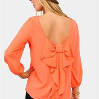 Waldorf Bow Blouse - Coral at Necessary Clothing