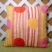 Pillow Cover In Sherbet Colored Circles Orange, Pineapple, Strawberry