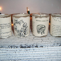 WINNIE THE POOH Classic vintage book votive Tea Light Set