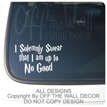 "Harry Potter  ""I Solemnly Swear that I am up to No Good"" Vinyl Car, Laptop, Decal Sticker"