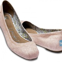 Ballet Flats - Rose Natalia Linen Ballet Flats | TOMS.com