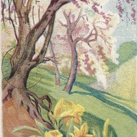 Vintage Easter Postcard, J Herman, yellow daffodils, early 1900s